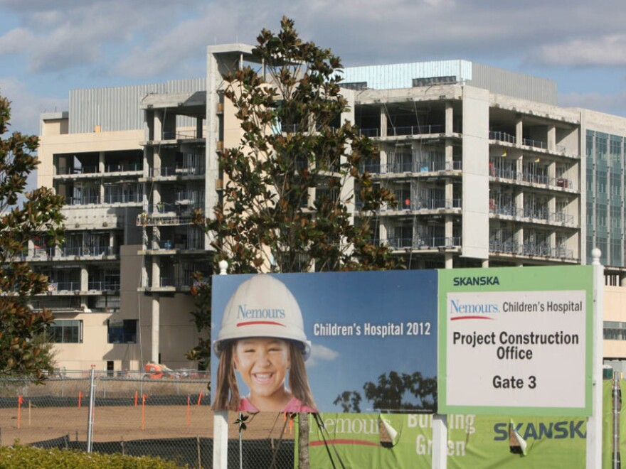 Construction at the new Nemours Children's Hospital, at the medical city at Lake Nona, Fla., in late 2010.