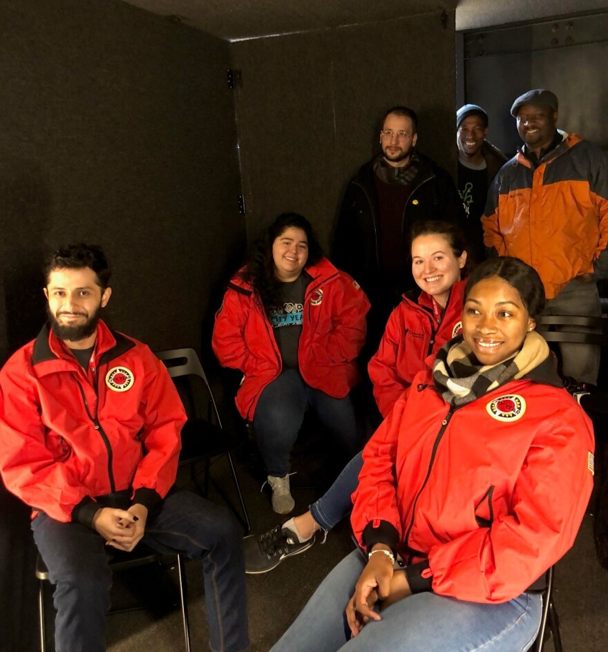 group from City Year Dallas in the portal container