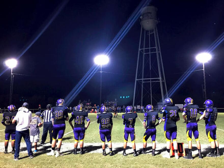 The Moran High School Bulldogs play six-man football in this tiny town of 270 people. Jeremiah Cottle, inventor of the bump stock, often attends the games, residents say.