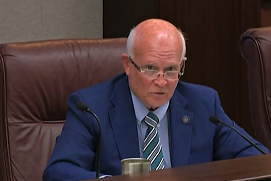 Sen. Dennis Baxley speaks Tuesday during meeting of the Senate Committee on Ethics and Elections. Image: Florida Channel video