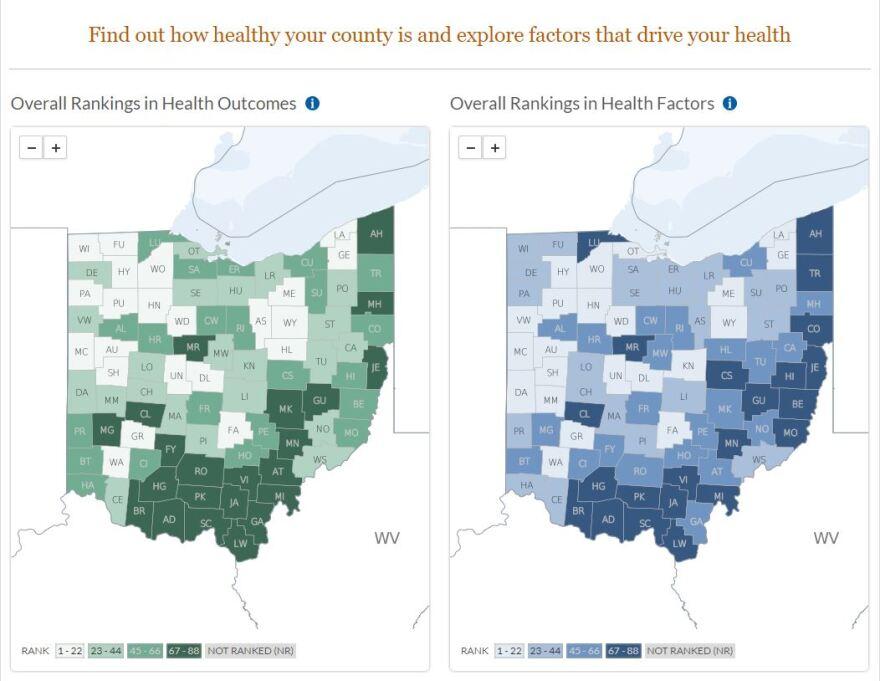 Ohio County Health rankings.