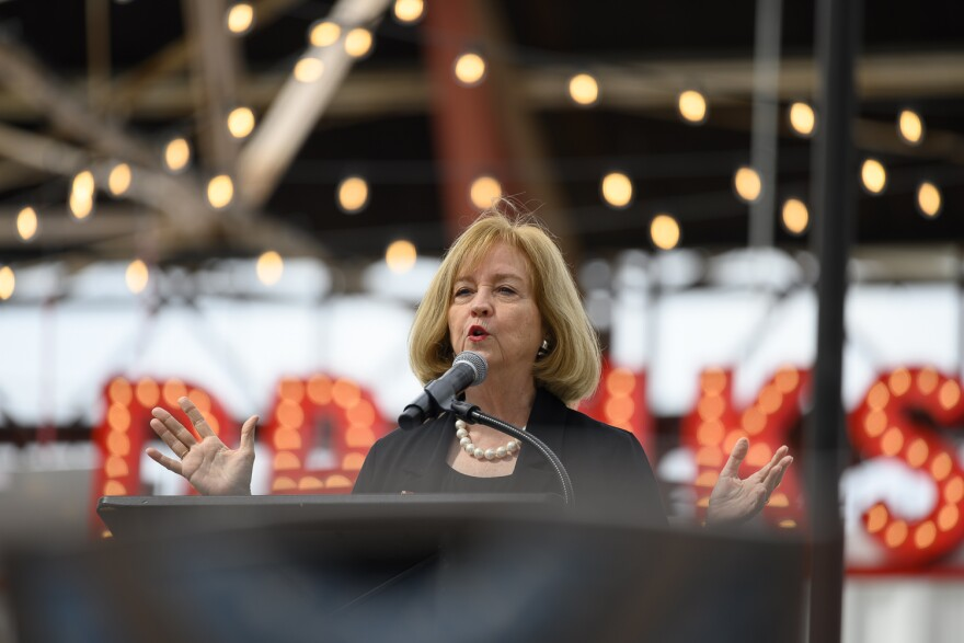 Mayor Lyda Krewson offered brief remarks before riding the St. Louis Wheel on September 24, 2019.