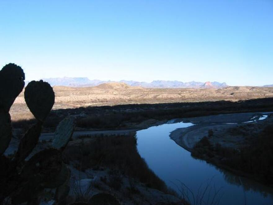 The Rio Grande emerging from Santa Elena Canyon with the Chisos Mountains in the distance. The right bank is Mexico, the left the U.S.
