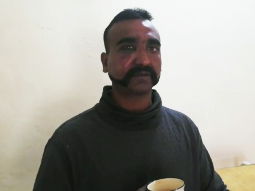 This still image taken from video circulated by Pakistan's military shows a man who identified himself as the pilot of an Indian military aircraft that was shot down Wednesday.