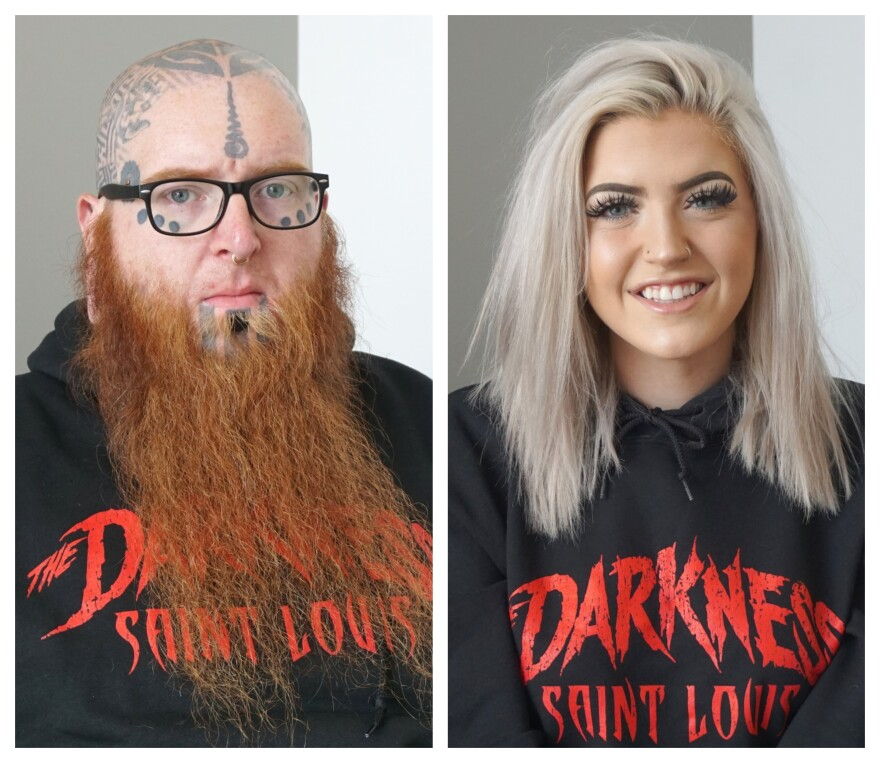 Richard Ivey (Left), and Bailey Gettemeier (Right) wearing shirts that say Darkness Saint Louis.