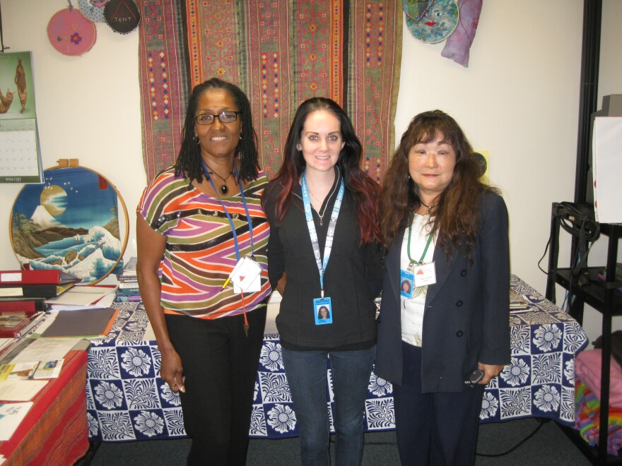 """Red Tent counselors. From left to right: Crystal Adams Dixon,  Kimberly Shavers (intern), Nobuko """"Noko"""" Coussoule"""