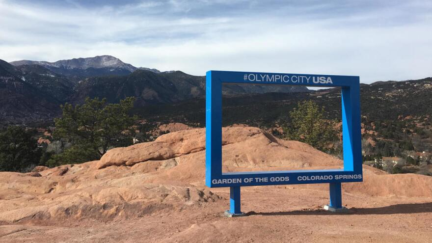 Days after a big blue frame was added to an overlook at Garden of the Gods Park, the city of Colorado Springs, Colo., took it down.