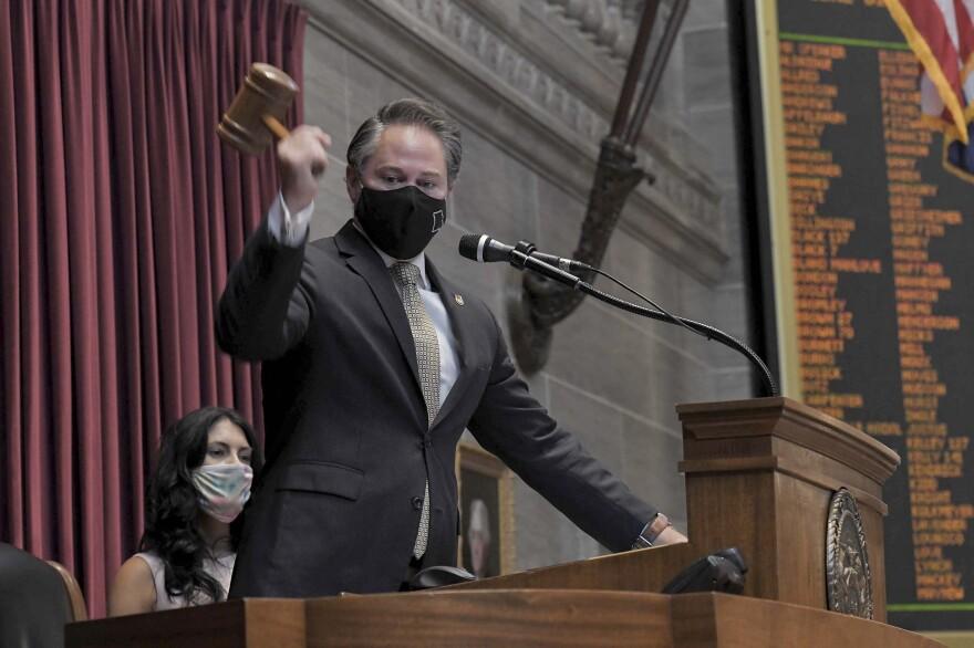 House Speaker Elijah Haahr brings down the gavel to end the 2020 veto session on Wednesday, Sept. 16.
