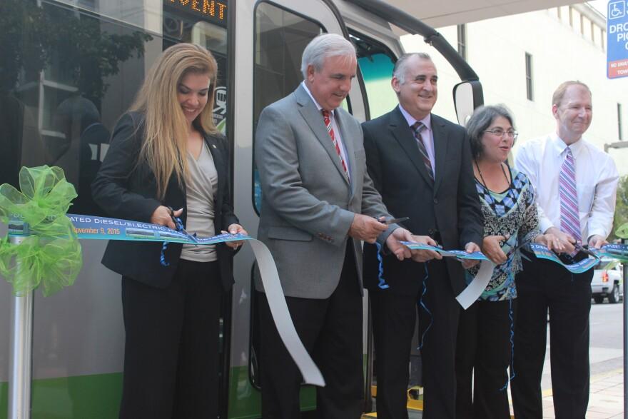 Miami-Dade Transit ribbon-cutting ceremony. Left to right: Alice Bravo, MDT director; Carlos Gimenez,Miami-Dade County Mayor; Esteban Bovo and Daniella Levine Cava from Miami-Dade Board of County Commissioners.