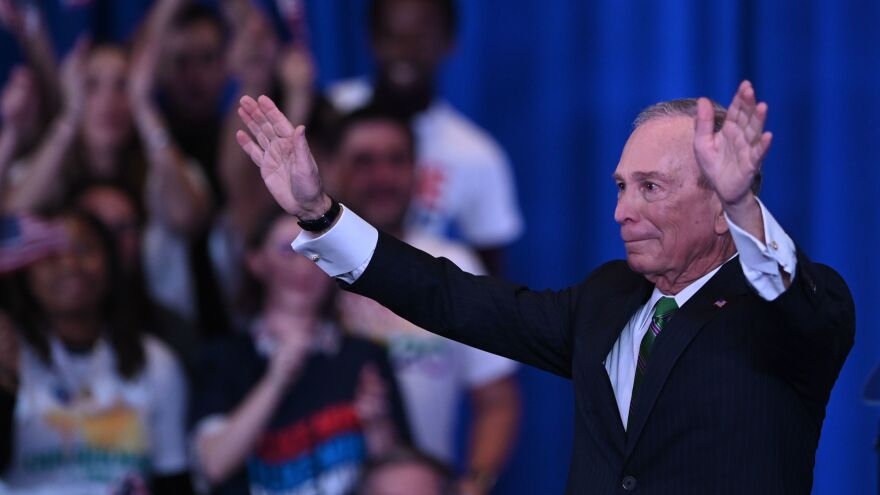 Mike Bloomberg, seen here speaking to supporters and staff in March in New York City, spent $1 billion of his own fortune to run for president but exited the race early on.