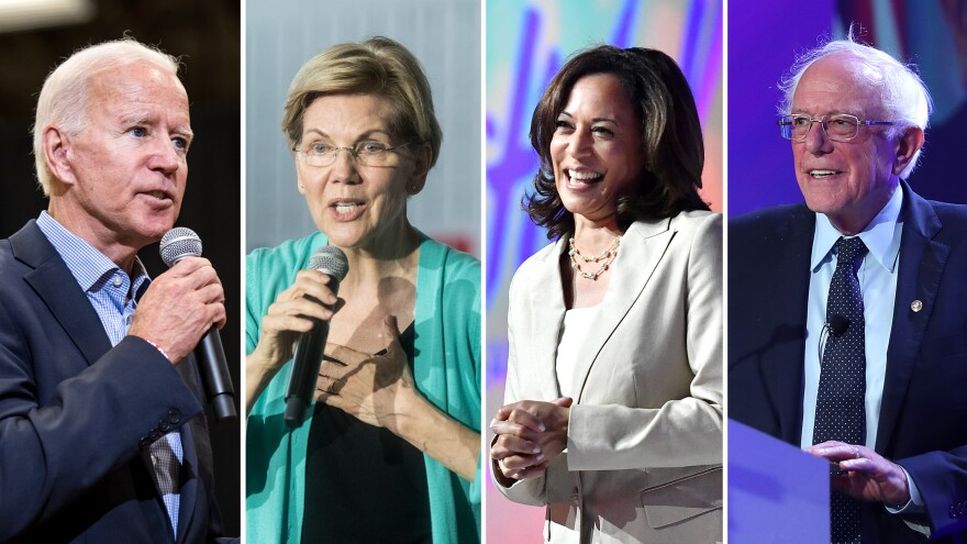 Former Vice President Joe Biden (left), Sen. Elizabeth Warren, Sen. Kamala Harris and Sen. Bernie Sanders are among the Democratic candidates running for president.