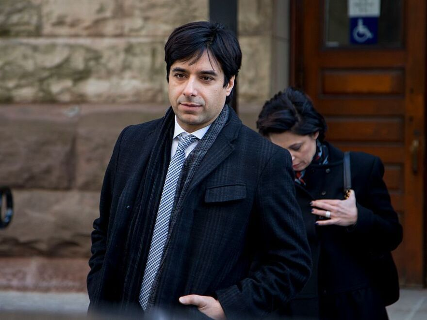 Jian Ghomeshi (left) leaves the courthouse with lawyer Marie Henein  (right) after his trial arguments ended in February for a separate case also involving accusations of assault.