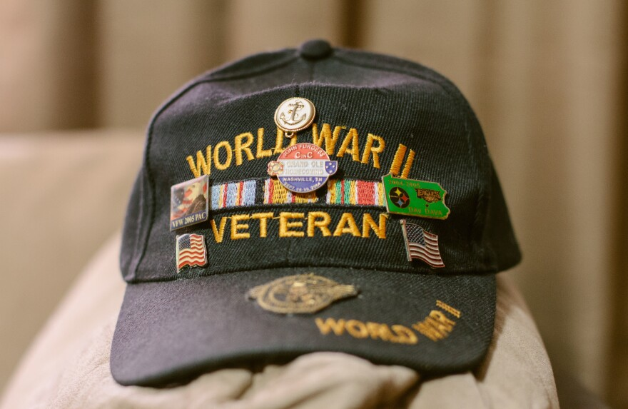 The favorite hat of Harry Bollinger, 88, a World War II Navy veteran who was a participant in secret military experiments that exposed him to mustard gas, causing long-term health problems.
