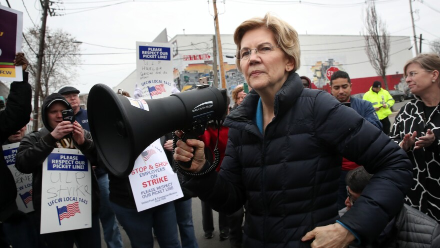 Democratic presidential candidate Elizabeth Warren addresses Stop & Shop workers on the picket line in Somerville, Mass., on April 12.