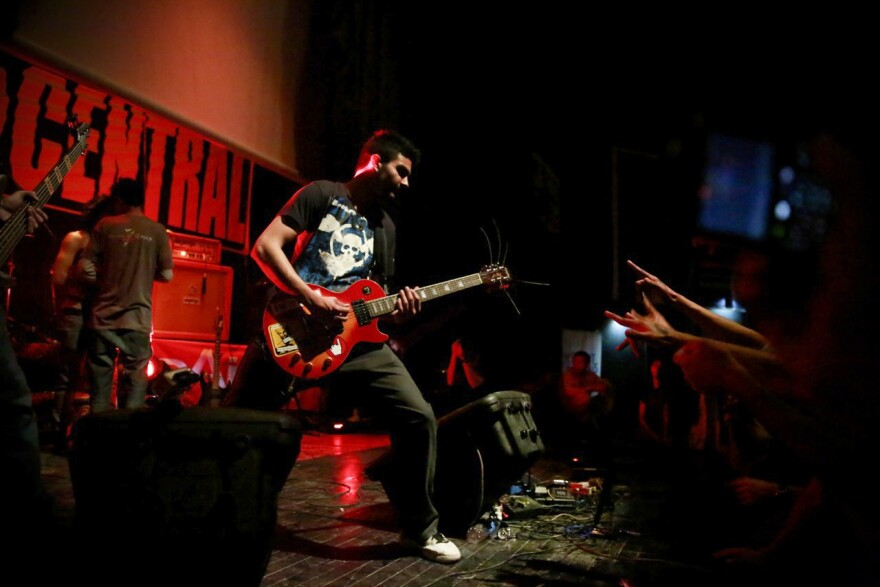 "Solomon ""Sully"" Omar performs with the Afghan metal band District Unknown at the third annual Sound Central Festival in Kabul earlier this month."