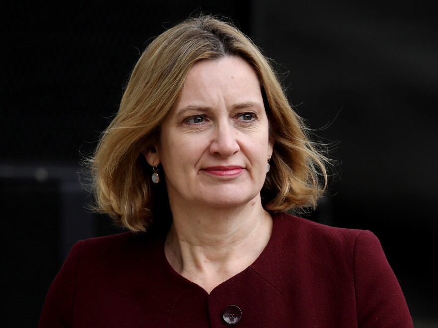 Home Secretary Amber Rudd attends the official unveiling of a statue in honor of the first female Suffragist Millicent Fawcett in Parliament Square last week in London.