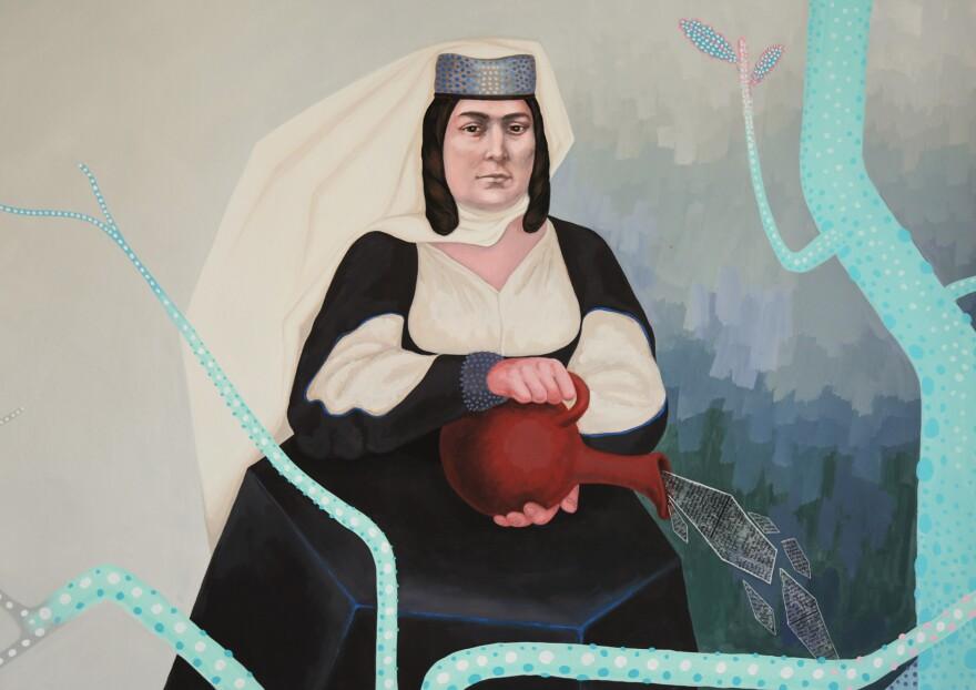 Portrait of Barbare Jorjadze by Georgian artist Anuka Beluga. The painting hangs in the Georgian National Library's reading room named after Jorjadze.