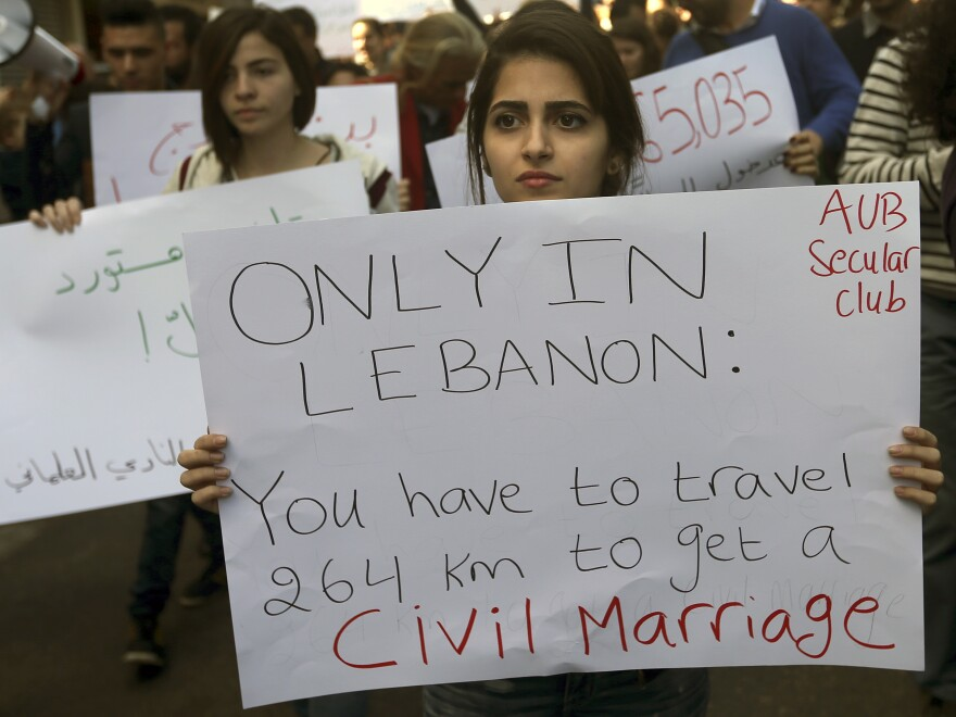 Lebanese activists demonstrate in March to demand a law allowing civil marriage.