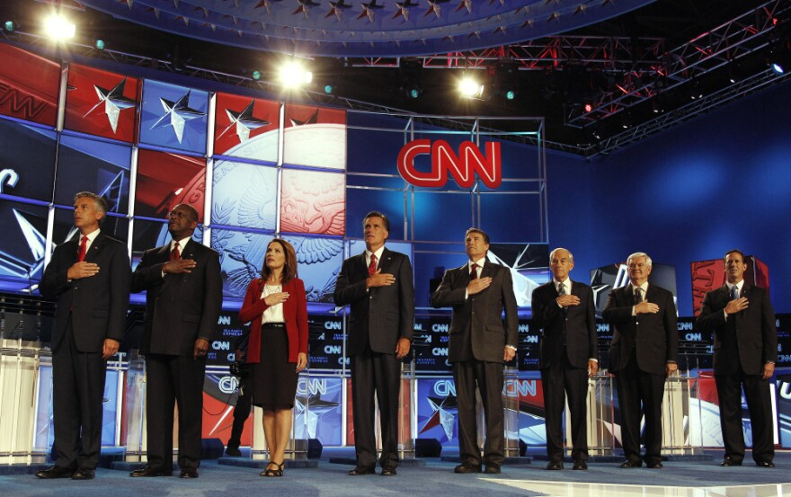 Republican presidential candidates at the CNN/Tea Party Express debate, Tampa, Fla., Sept. 12, 2011.