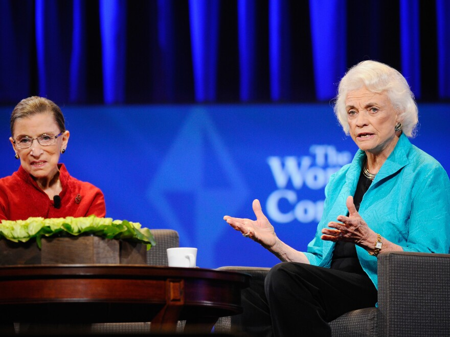 Justice Ruth Bader Ginsburg and former justice Sandra Day O'Connor attend California first lady Maria Shriver's annual Women's Conference in 2010 at the Long Beach Convention Center.