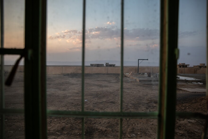 A view of the courtyard from Kocho's school, where ISIS gathered up all the villagers in 2014 before dividing them into groups to be executed or abducted.