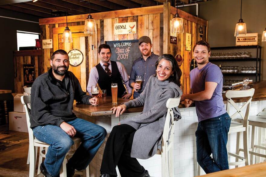 """Sauce executive editor Ligaya Figueras sits with the magazine's 2009 """"ones to watch"""": Cory Shupe, far left, T.J. Vytlacil, Cory King and Adam Alnether."""