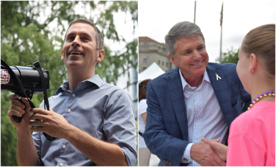 Democrat Mike Siegel, left, challenged Republican Michael McCaul for a congressional district that stretches from Houston to Austin.