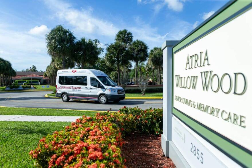 An outside view of Atria Willow Wood in Fort Lauderdale on Tuesday, March 17, 2020. On Tuesday, Florida's Department of Health announced two deaths at the assisted living facility, one of which was confirmed to have been diagnosed with COVID-19.