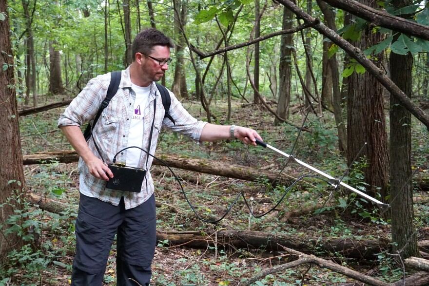 Ben Jellen, an associate professor of biology at St. Louis College of Pharmacy, using a radio receiver to track a copperhead snake at Powder Valley Nature Center on August 30, 2019.