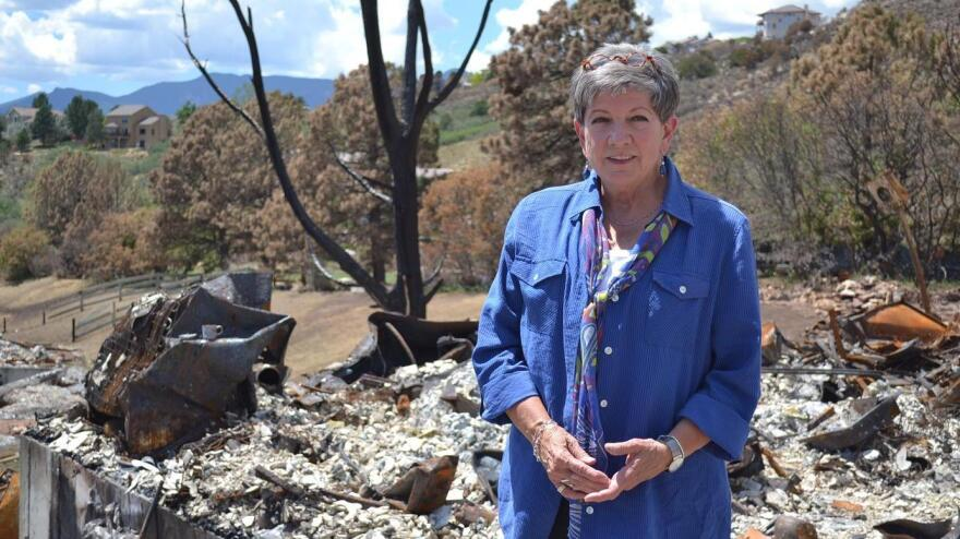 C.J. Moore stands where her front door used to be, before the Waldo Canyon Fire swept through the Mountain Shadows neighborhood in Colorado Springs, Colo. The fire destroyed more than 350 homes there.