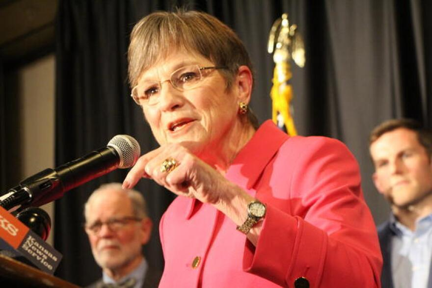 Kansas Governor Laura Kelly  (D) during her victory speech in November 2018.