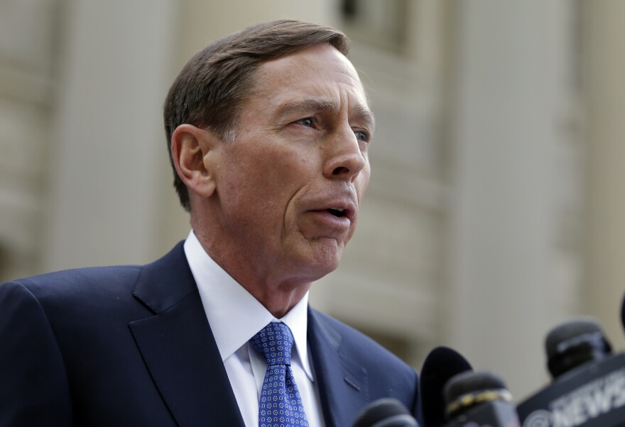 Former CIA director David Petraeus leaves the federal courthouse in Charlotte, N.C., in April after pleading guilty to sharing top government secrets with his biographer.