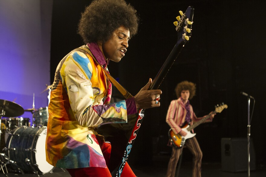 A right-handed guitar player, André Benjamin says he had to learn how to play with his left hand in order to accurately portray Hendrix.