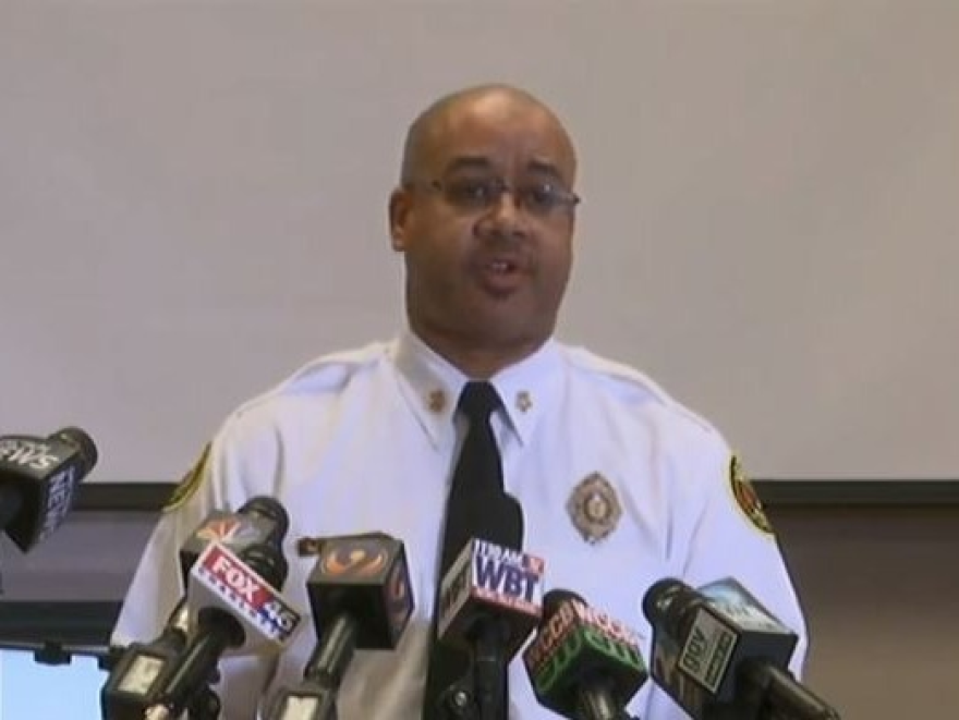 Fire Chief Reginald Johnson talked to reporters Monday at Charlotte Fire Department headquarters.