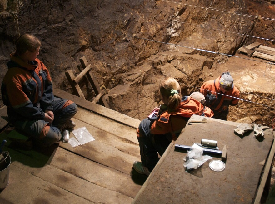 Researchers from the Max Planck Institute excavate the East Gallery of Denisova Cave in Siberia in August 2010. With ancient bone fragments so hard to come by, being able to successfully filter dirt for the DNA of extinct human ancestors can open new doors, research-wise.