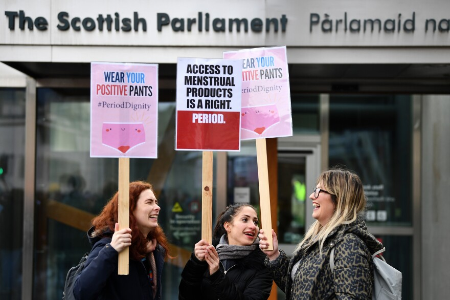 Scotland will make period products free to all who need them, after its parliament unanimously passed a bill that will require tampons and pads to be available in public places. Campaigners rallied outside Scottish Parliament in Edinburgh in support of the bill in February.