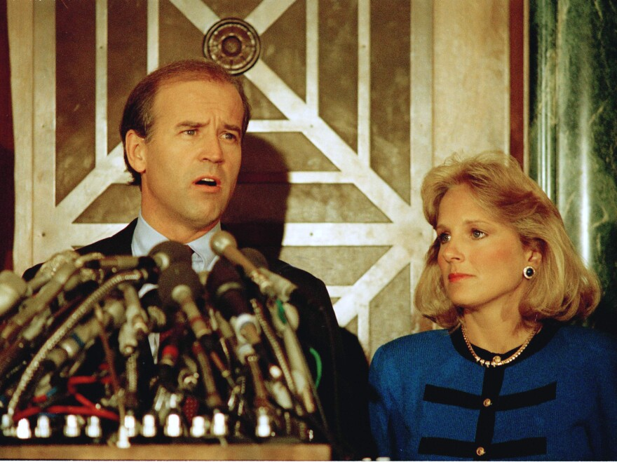 Biden appeared at a news conference with his wife Jill in Washington on Sept. 23, 1987, to announce he was withdrawing from the Democratic race for the presidential nomination.