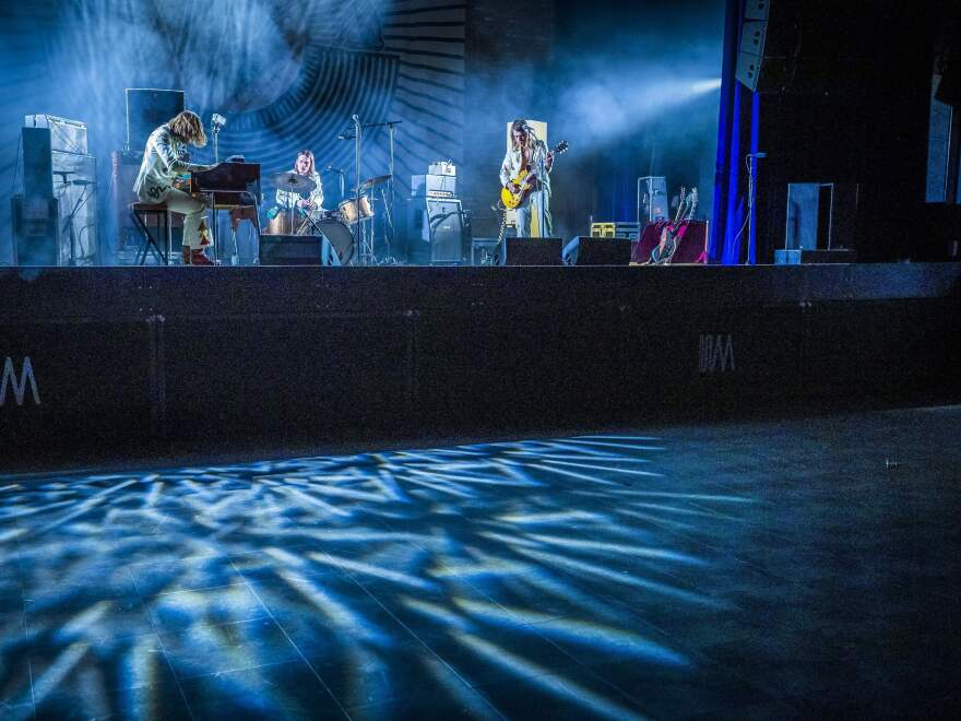 Dutch band DeWolff photographed on March 14, 2020, in Maastricht, while performing in an empty venue due to a ban on gatherings to limit the spread of COVID-19.