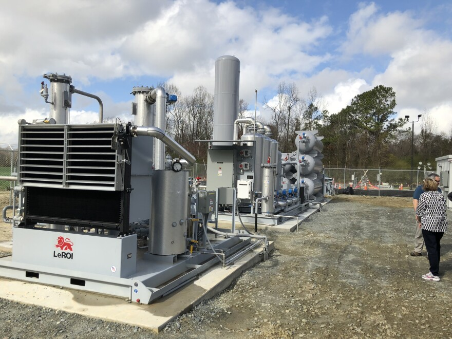 The hog waste is processed into pipeline-quality gas in this converter in Kenansville, Duplin County. It's run by a company called Optima KV.