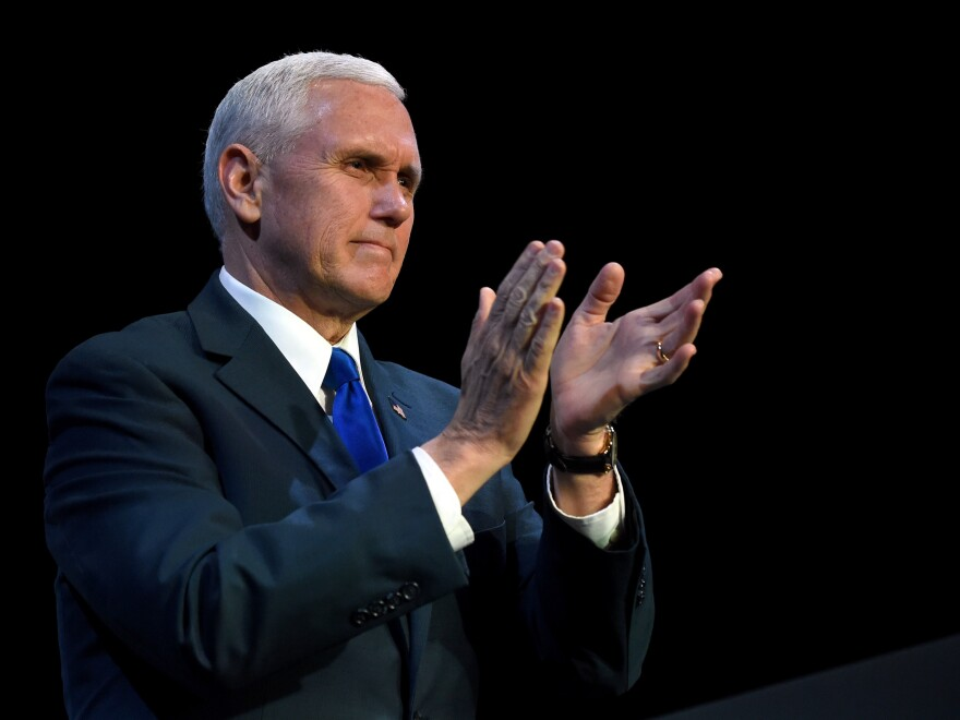 Vice President Pence, seen here at a Feb. 24 speaking engagement in Las Vegas, was the highest-ranking administration official to attend the Gridiron Dinner on Saturday.