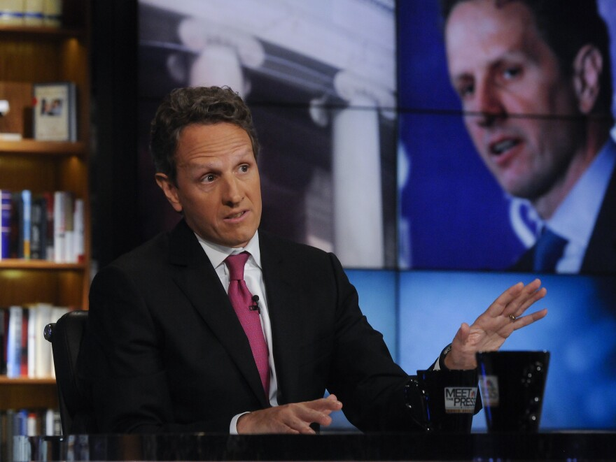 """Treasury Secretary Timothy Geithner, seen here on NBC's <em>Meet the Press</em> on July 10, 2011, took to the Sunday talk shows to make the administration's case on the negotiations over the """"fiscal cliff."""""""