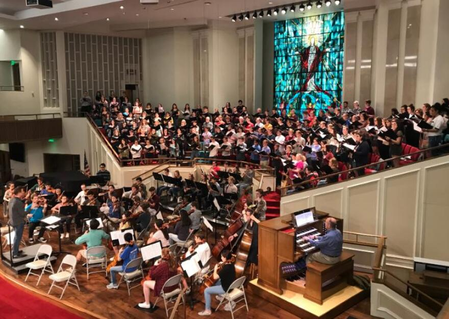 The choirs and the orchestra at Trinity Baptist Church.