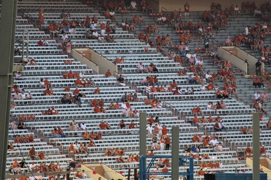 There were more than 15,000 people in attendance at UT's first game of the football season. According to state law, the stadium can be filled to 25% capacity, which is 25,000 people.