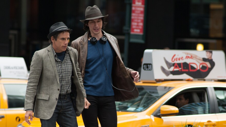 In <em>While We're Young</em>, Adam Driver (right) plays a young filmmaker who befriends an older, unsuccessful filmmaker played by Ben Stiller.