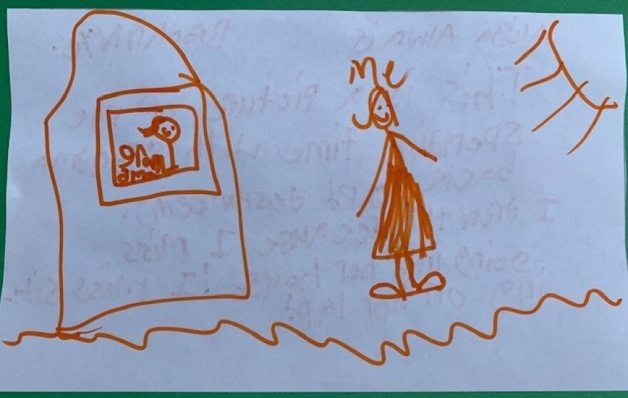 Alissa, a 6-year-old from Brooklyn, drew a picture of her and her grandmother socially distancing.