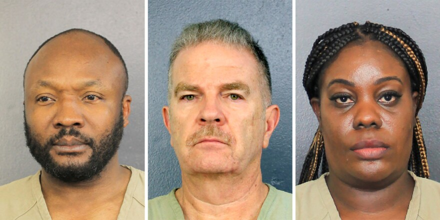 Sergo Colin (from left), Jorge Carballo and Althia Meggie, all former workers at the Rehabilitation Center at Hollywood Hills, in Florida, face multiple counts of aggravated manslaughter. Meggie and another nurse face additional charges related to tampering with evidence.