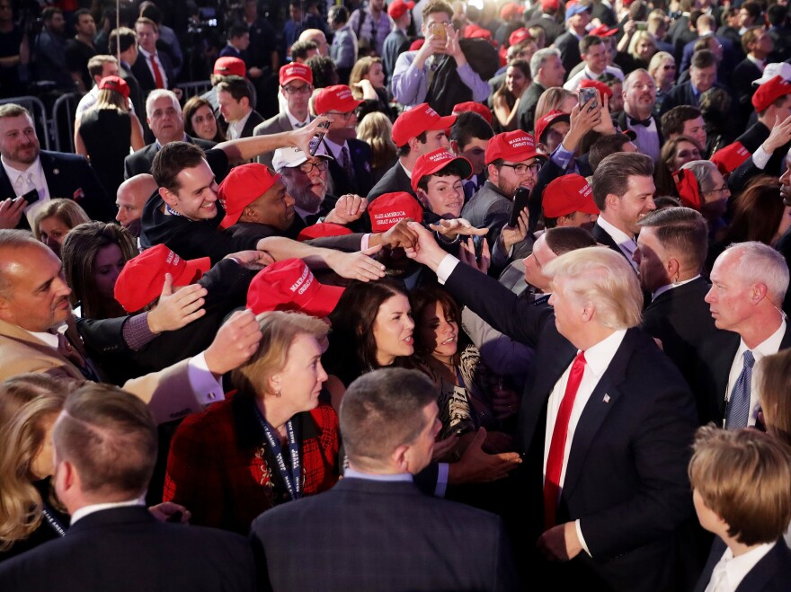 Donald Trump greets a crowd, including many younger supporters, after delivering his acceptance speech at the New York Hilton Midtown on election night 2016. Many younger voters have left the GOP since Trump took office.