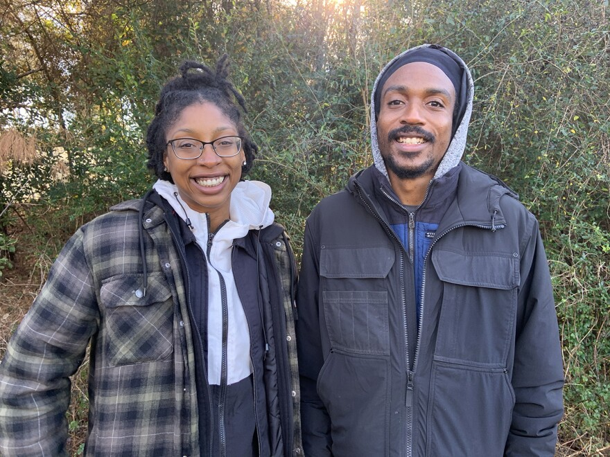 """Angelique Taylor and David """"Kip"""" Ritchey standing together"""