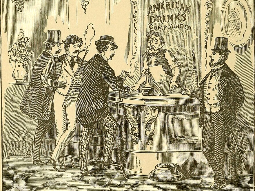 An illustration from <em>The Innocents Abroad</em> by Mark Twain, published in 1897. Between the 1860s and 1920, when Prohibition went into effect, American bartending came into its own.