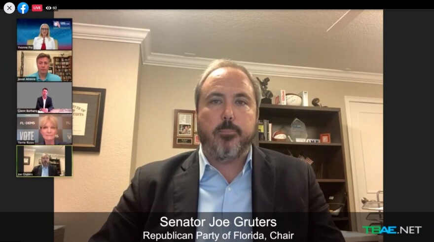 Screen shot of a virtual meeting. Sen. Joe Gruters is in the forefront, while the others are in smaller stacked screens on the left.